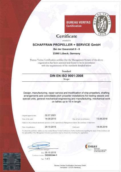 Schaffran Propeller - Certifications